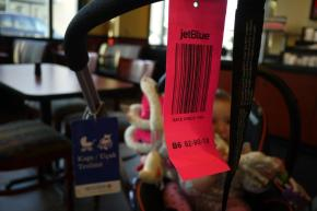 Stroller gate check tags - flying with baby