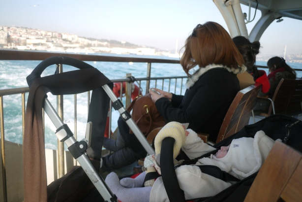 Riding the Istanbul ferry with a baby