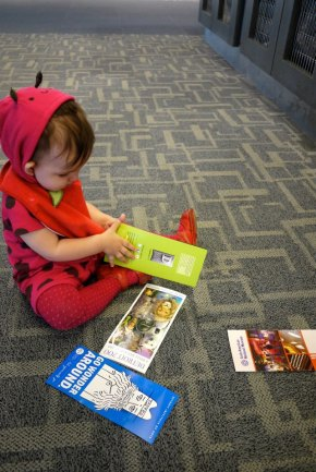 Vera entertaining herself in Detroit's airport.
