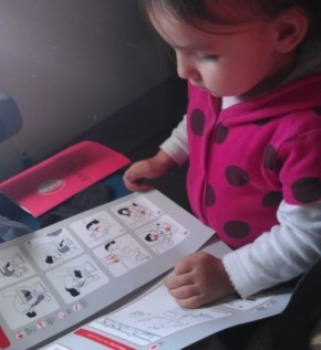 The airplane safety card: quality toddler reading.